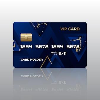 Realistische blaue vip-karte mit goldenen details