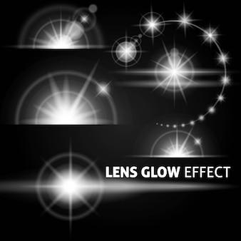 Realistische blendungen und helle lichtstrahlen blinken weiß