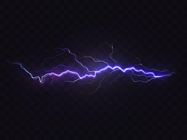 Realistische blitz isoliert auf schwarzem hintergrund. natürlicher lichteffekt, hell leuchtend
