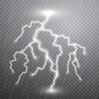 Realistische blitze mit transparenz. gewitter und blitze. magische und helle lichteffekte.