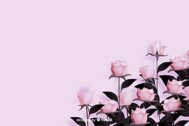 Realistische blumen auf einem rosa hintergrund