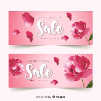 Realistische blumen-valentinsgruß-verkaufsfahne