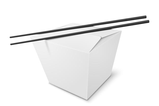 Realistische box mit chinesischem essen und stöcken