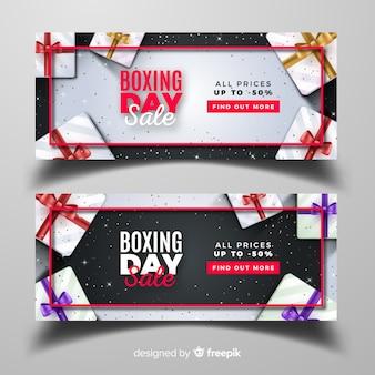 Realistische boxen tagesverkauf banner