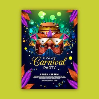 Realistische brasilianische karnevalsfliegervorlage