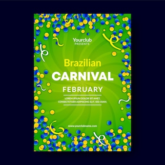 Realistische brasilianische karnevalsplakatschablone
