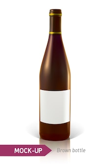 Realistische braune flaschen wein oder cocktail