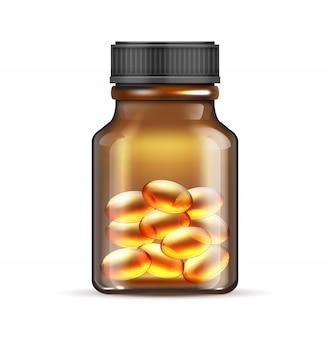 Realistische braune glasflasche mit fischöl, omega 3-vitaminkapseln lokalisiert auf weißem hintergrund