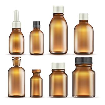 Realistische braune glasmedizin und kosmetische flaschen, lokalisierter satz der medizinischen verpackung.