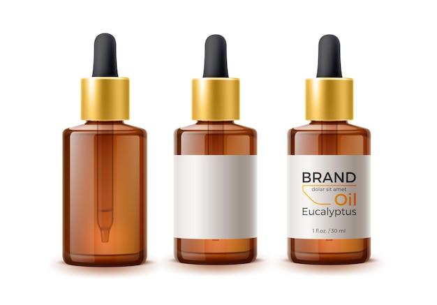 Realistische braune leere flaschen und flasche mit markenetikett mit pipettenset.