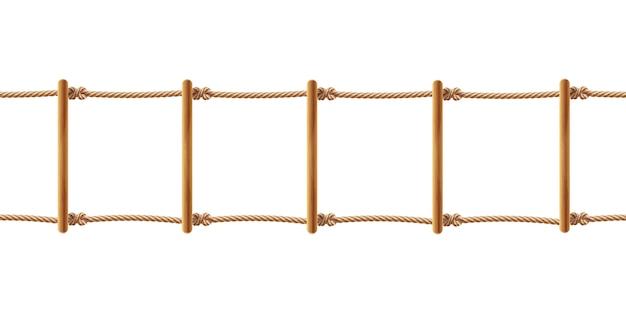 Realistische braune strickleiter lokalisiert auf weißem hintergrund. treppe mit schnüren