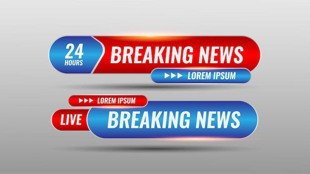 Realistische breaking news banner im unteren drittel mit roter und blauer farbe