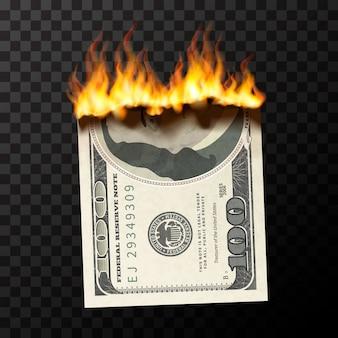 Realistische brennende puppe von einhundert us-dollar banknote mit feuerflammen