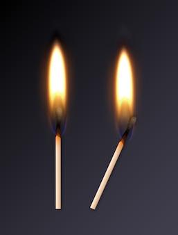 Realistische brennende übereinstimmungen mit orange flamme auf dunklem hintergrund