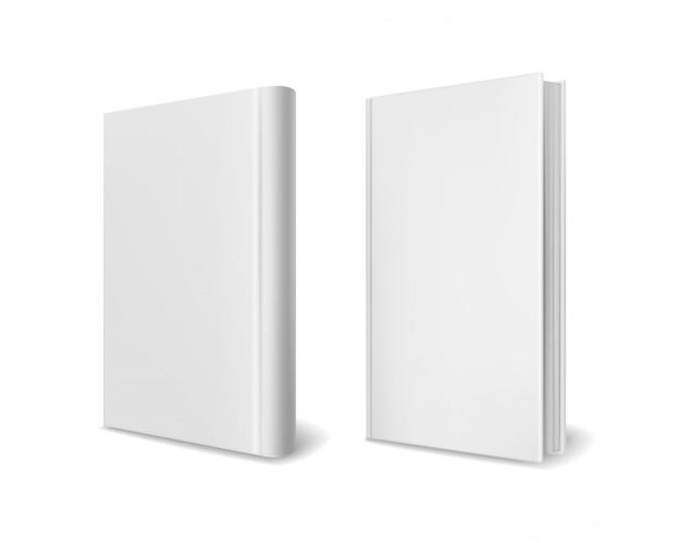 Realistische buchcover-modelle. leere weiße perspektive hardcover bücher broschüre magazin oder katalog 3d schablonensatz