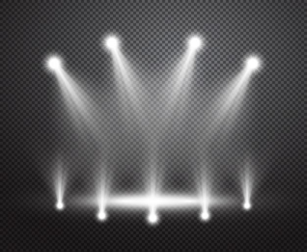 Realistische bühnenbeleuchtung vektor hintergrund