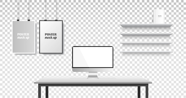Realistische büro kreativen arbeitsbereich.