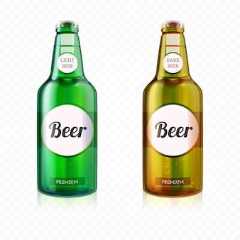 Realistische bunte bierflasche