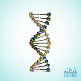 Realistische bunte dna-helix-konzeptillustration