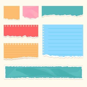 Realistische bunte zerrissene papierschrottstreifen mit zerrissenen kanten isoliert set vektor flache cartoon-grafik-illustration