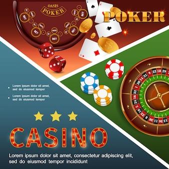 Realistische bunte zusammensetzung des kasinos mit poker-tisch-roulette-chips würfelt spielkarten-goldmünzen