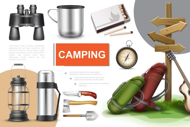 Realistische campingelemente zusammensetzung mit fernglas tasse passt navigationskompass laterne thermoskanne messer axt schaufel gitarre und rucksäcke in der nähe von wegweiser