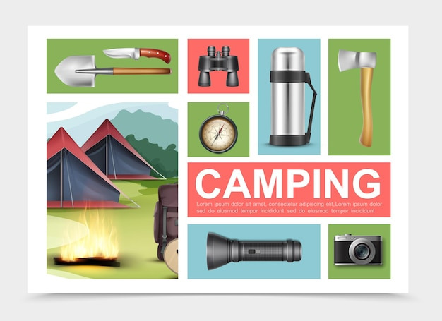 Realistische campingelemente zusammensetzung mit schaufel axt messer fernglas kompass thermoskanne taschenlampe kamera rucksack gitarre in der nähe von lagerfeuer und zelten