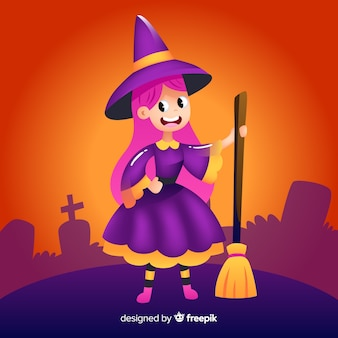Realistische cartoon haloween hexe