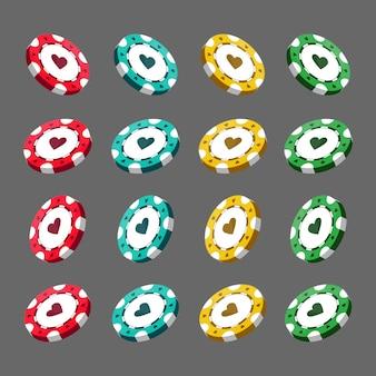 Realistische casino-chips für poker oder roulette. elemente zum entwerfen von logo, website oder hintergrund. vektorillustration lokalisiert auf weißem hintergrund.