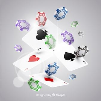 Realistische casino chips und karten fallen