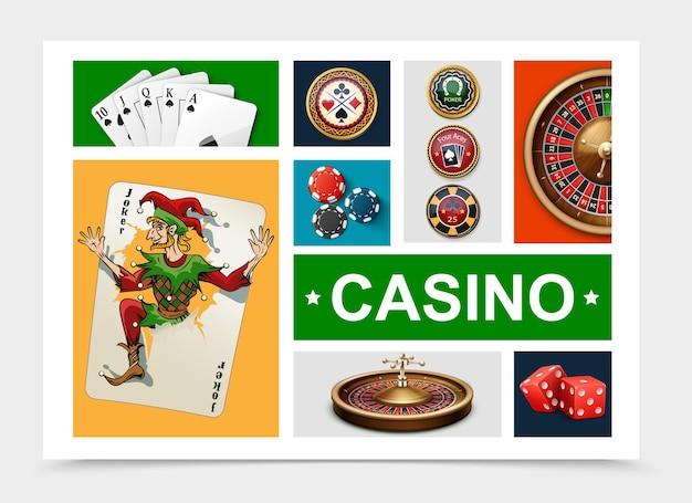 Realistische casino-elemente sammlung mit spielkarten roulette rad poker chips würfel isoliert