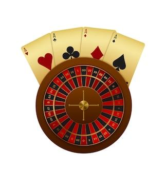 Realistische casino-komposition mit roulette-rad und karten