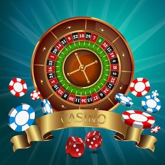 Realistische casino-online-spiele mit goldenem band und roulette an der spitze