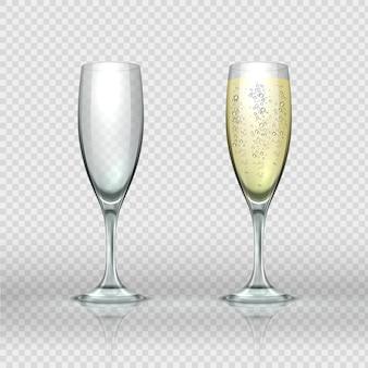 Realistische champagnerglasillustration