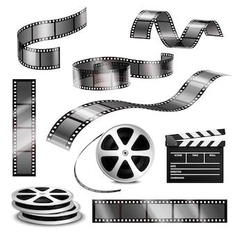 Realistische clapper fotostreifen und film