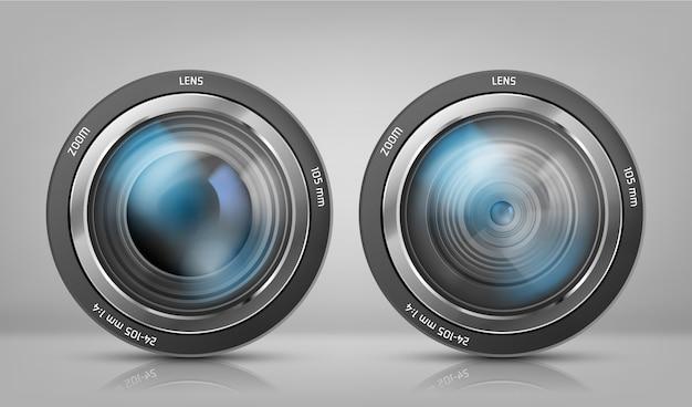 Realistische clipart mit zwei kameraobjektiven, fotoobjektive mit zoom