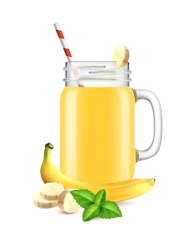 Realistische cocktail-smoothie-illustration im glas