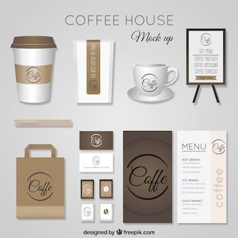 Realistische coffee-shop schreibwaren