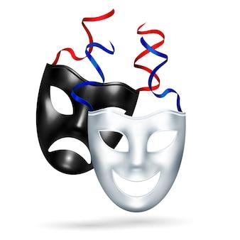 Realistische comedy-tragödien-masken