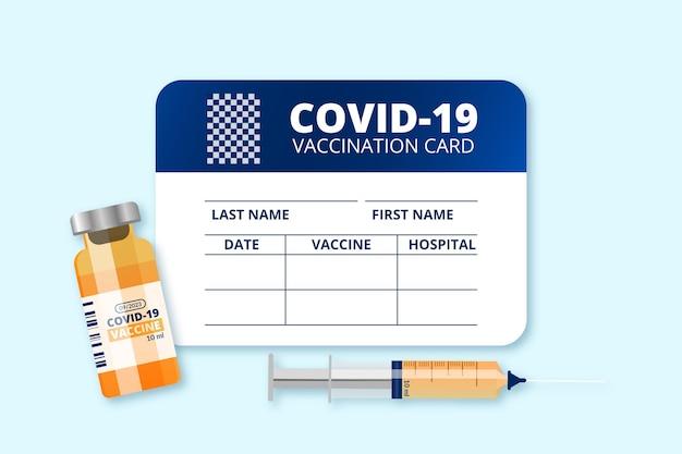 Realistische coronavirus-impfaufzeichnungskartenschablone