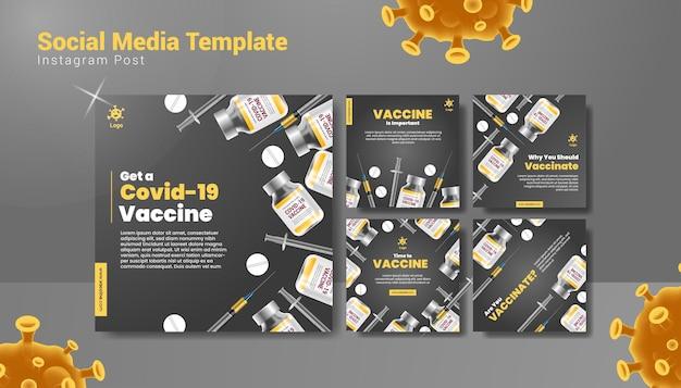 Realistische covid-19-impfungs-social-media-post-vorlage