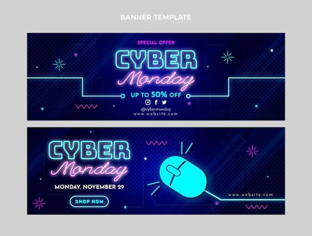 Realistische cyber monday horizontale banner eingestellt