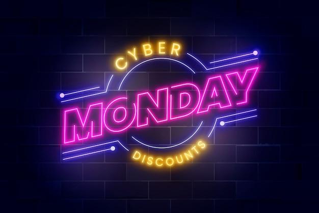 Realistische cyber monday neon-schriftzug