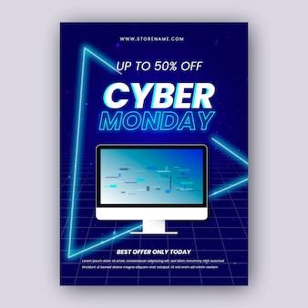 Realistische cyber montag flyer vorlage