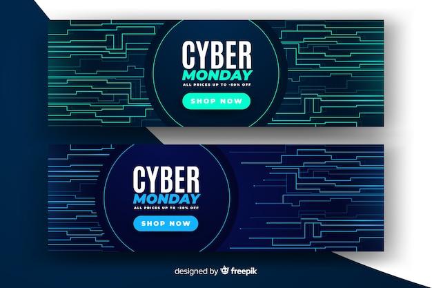 Realistische cyber-montag-verkaufsfahne mit störschubeffekt