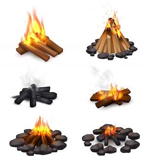 Realistische dampfende lagerfeuersammlung