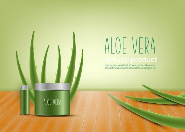 Realistische darstellung des aloe-vera-vektorkonzepthintergrundes