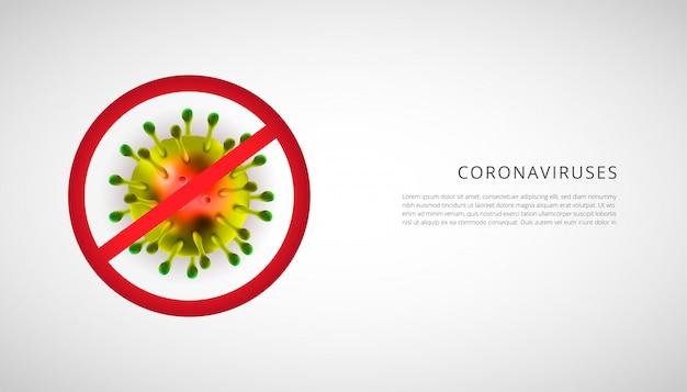 Realistische darstellung des coronavirus mit stoppschild