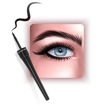 Realistische darstellung des eyeliner, der das auge anwendet