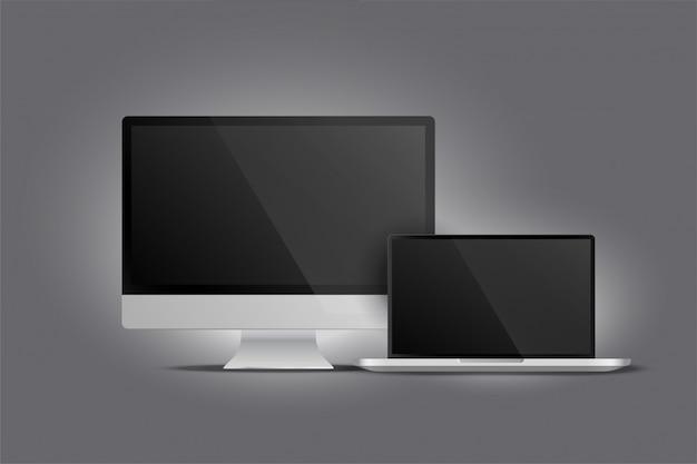 Realistische darstellung von monitor-desktop und laptop